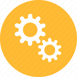 gear, options, preferences, set, setting, yellow icon