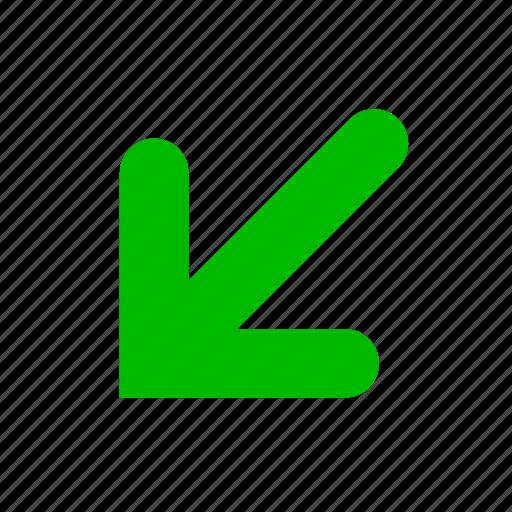 arrow, bottom, green, right icon