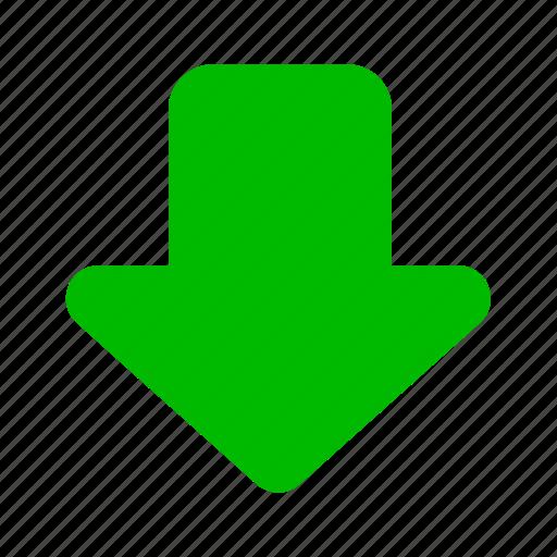 arrow, arrows, down, download, downloads, green icon