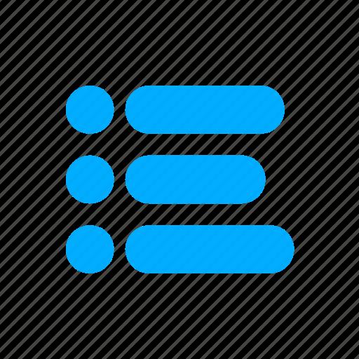 blue, bullet, bullets, items, list, menu icon