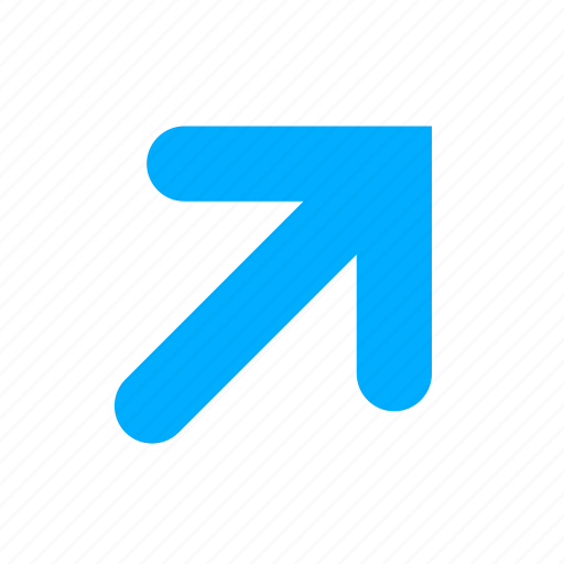 arrow, blue, right, top icon