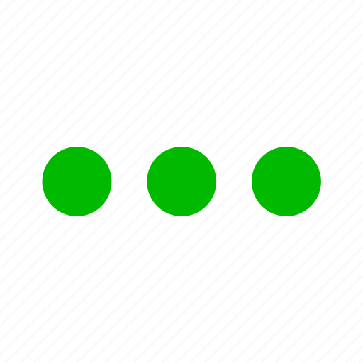 continue, dot, dots, ellipsis, green, list, menu icon