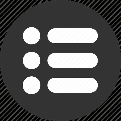 bullet, bullets, items, list, menu icon