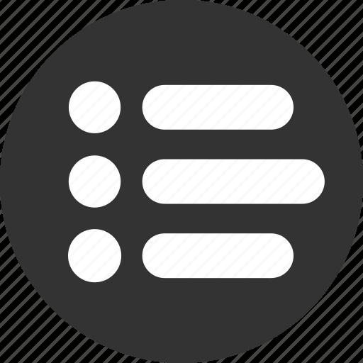 bullet, bullets, items, justified, list, menu icon