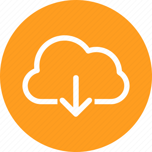 arrow, cloud, data, down, download, sharing icon
