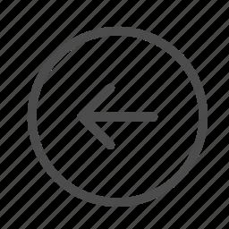 arrow, back, circle, left, previous, west icon