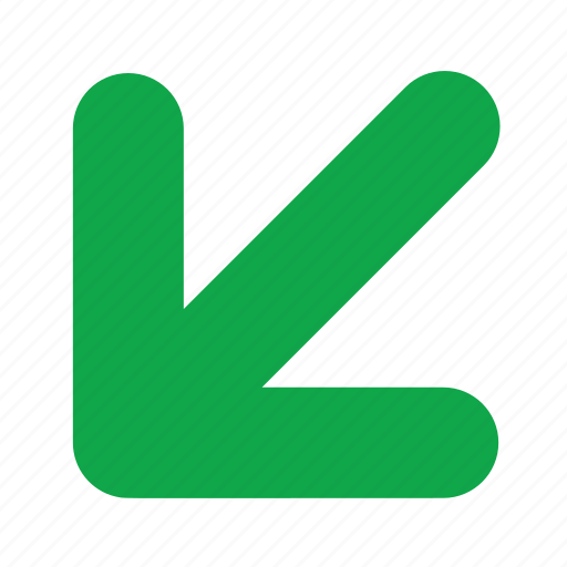 arrow, bottom, direction, incoming, left icon