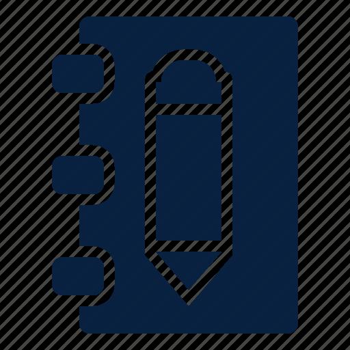 editor, notebook, pencil, text icon