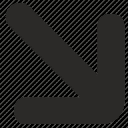 arrow, botto, right icon