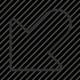 arrow, bottom, direction, incoming, left icon