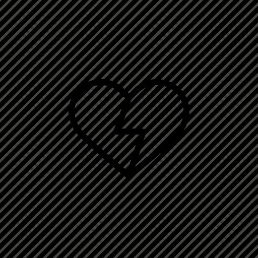 break, hate, heart, heart break, hurt, roundedsolid icon
