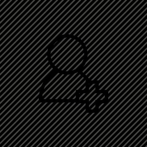 add friend, addfriend, new, plus, profile, roundedsolid, user add icon