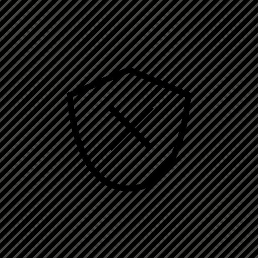 danger, off, roundedsolid, shield, unsafe, weak icon