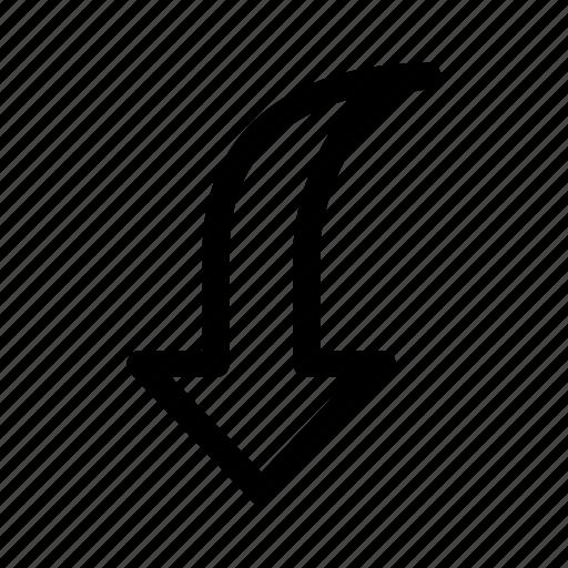 arrow, down, ui, ux icon
