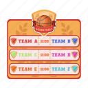 basketball, group, name, table, team icon