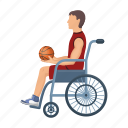 ball, basketball, invalid, play, player, sport, stroller icon