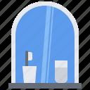 bathroom, glass, hygiene, mirror, shower, toilet, toothbrush