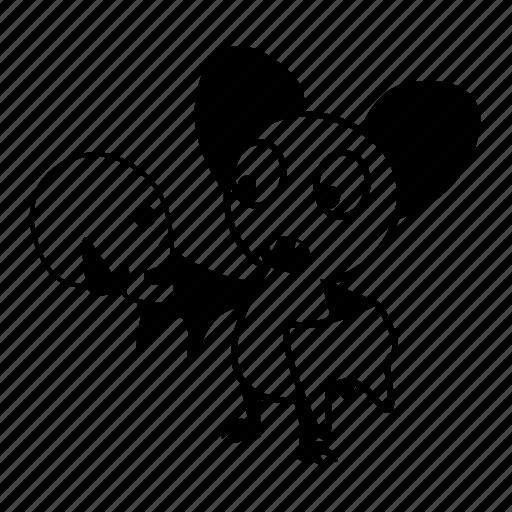 bat, cartoon, character, hold, skull icon