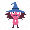 bat, character, halloween, happy, hat, wear, witch icon