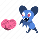 bat, brain, cartoon, character, eat, exited, zombie icon