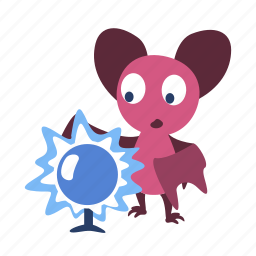 ball, bat, cartoon, character, look, magic, shiny icon