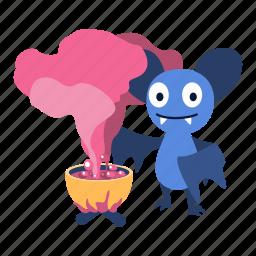 bat, boil, character, magic, make, potion, smoke icon