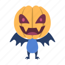 bat, character, halloween, head, monster, pumpkin icon