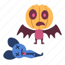dead, fear, halloween, head, monster, pumpkin, scared icon