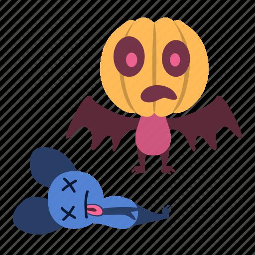 dead, fear, halloween, head, monster, pumpkin, scared icon