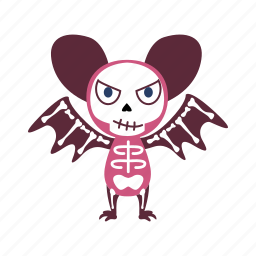 bat, cartoon, character, evil, halloween, monster, skeleton icon