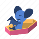 cartoon, character, coffin, up, vampire, wake icon