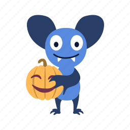 bat, cartoon, character, halloween, jack-o'-lantern, pumpkin, smile icon