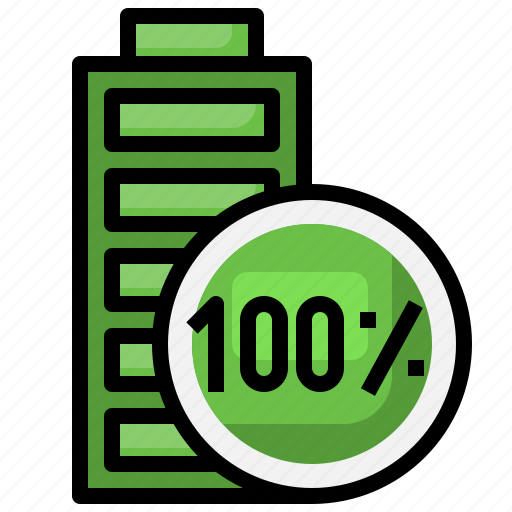 Battery, percentage, full, charge, power icon - Download on Iconfinder