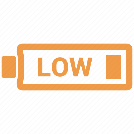 battery, battery status, low, low battery icon