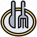 cutlery, dish, fork, knife, plate icon