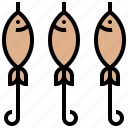 barbecue, brochette, fish, seafood, skewer icon