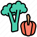 broccoli, chilli, organic, sweet, vegetable icon