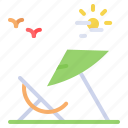 chair, summer, umbrella, vacation icon