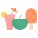 coconut, mocktail, popsicle, summer icon
