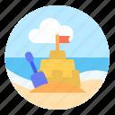 beach, play, sand, sand castle, summer, vacation icon