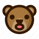 atonished, avatar, bear, emoji, face, profile, teddy icon