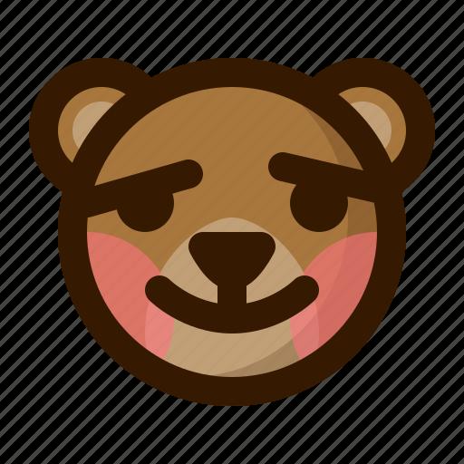avatar, bear, blush, emoji, face, profile, teddy icon