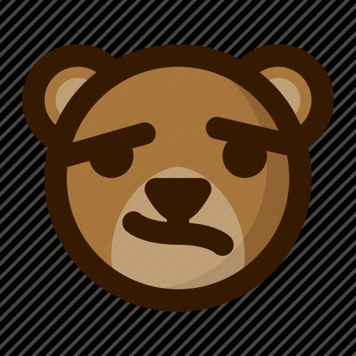 avatar, bear, confused, emoji, face, profile, teddy icon