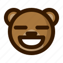 avatar, bear, contented, emoji, face, profile, teddy icon