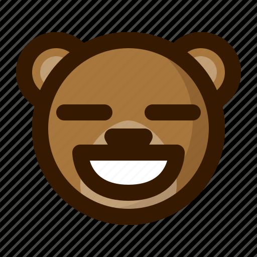 avatar, bear, contented, emoji, face, profile, teddy icon