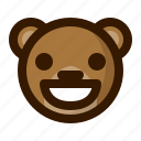 avatar, bear, emoji, face, grin, profile, teddy icon