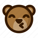 avatar, bear, emoji, face, kiss, profile, teddy icon