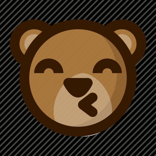 avatar, bear, emoji, face, kiss, profile, teddy icon