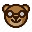 avatar, bear, emoji, face, nerd, profile, teddy icon