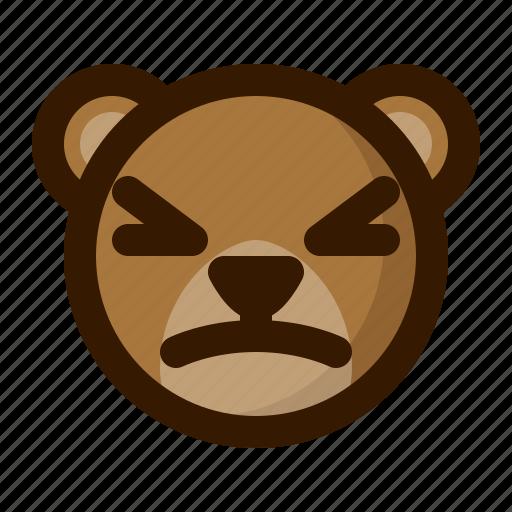 avatar, bear, emoji, face, profile, stunned, teddy icon